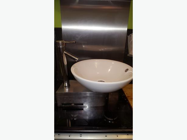 bathroom designer fish bowl style sink complete with mixer