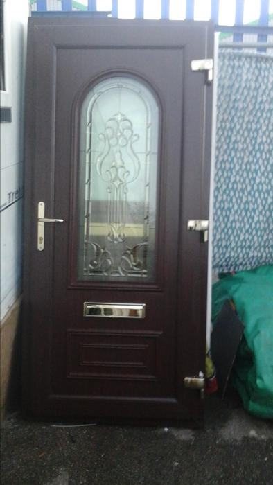 Upvc door and frame replacement brown and white available for Brown upvc door