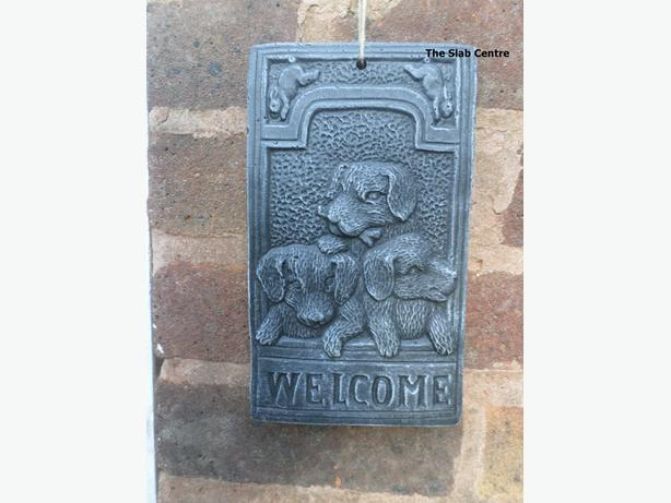 New Concrete Dog Welcome Hanging Plaques
