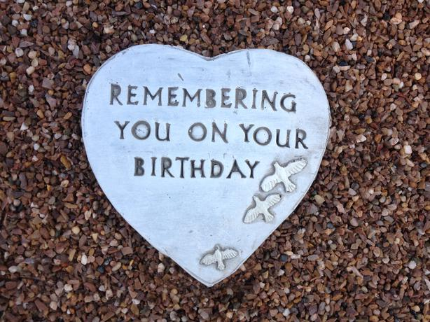 Memorial hearts and tears, birthday