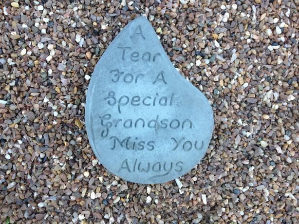 Memorial hearts and tears, grandchildren