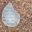 Memorial hearts and tears, husband