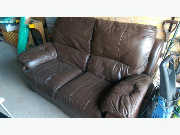 2 Seater brown leather recliner