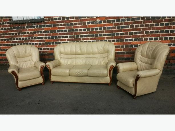 Cream Leather 3 Piece Suite Wood Trim 3 Seater Sofa Two