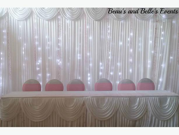 Starlight backdrop, skirts for hire
