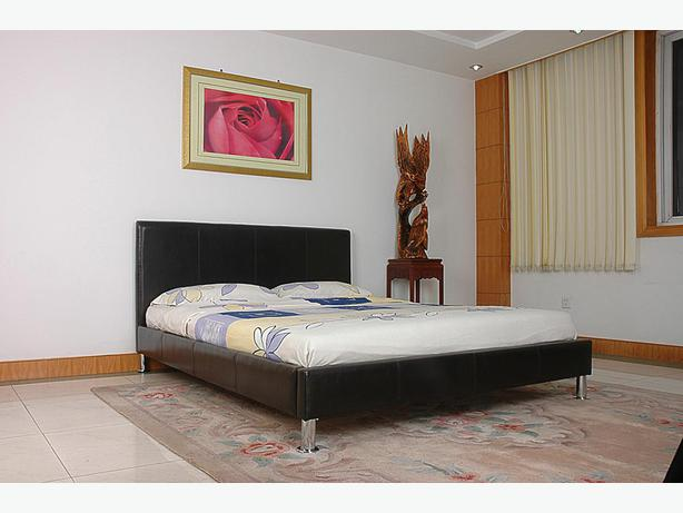 DOUBLE LEATHER BEDFRAME WITH CHROME LEGS