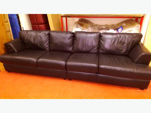 Large 4 Seater Leather Sofa- Black Bilston, Dudley