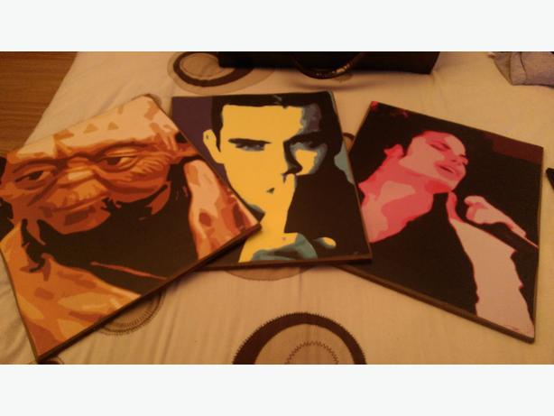 Robbie Williams, Yoda and Michael Jackson paintings