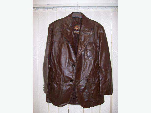 Men's genuine leather brown coat