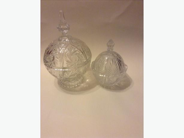 one large & one small vintage cut crystal candy/sweet jars