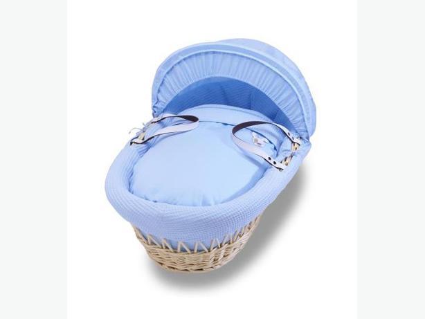 Izziwotnot Blue Natural Wicker Moses Basket