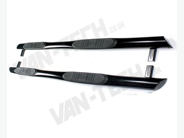 VW T5  SWB Black Slashed End Side Bars with Four Steps