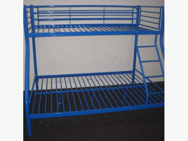 Double And Single Blue Metal Bunk Bed Good Condition Can Deliver