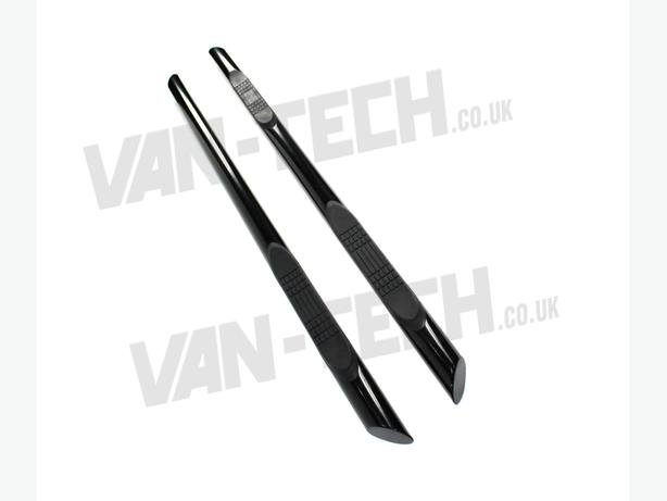 VW T5 SWB Transporter Black Slashed End Side Bars with Three Steps