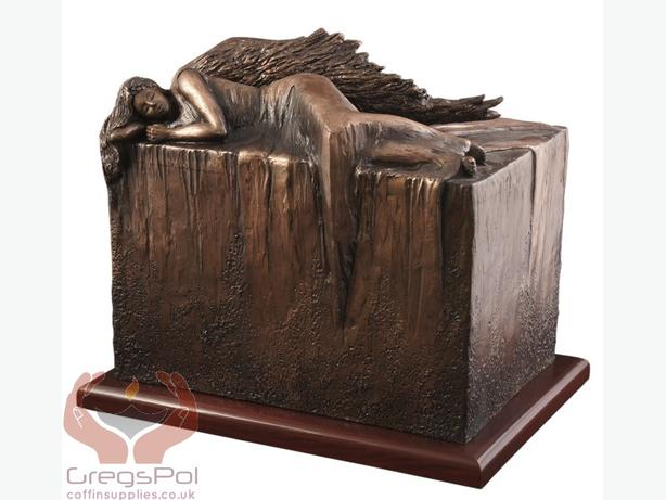 Unique Artistic Urn Angel at Rest Cremation Urn ( Copper)