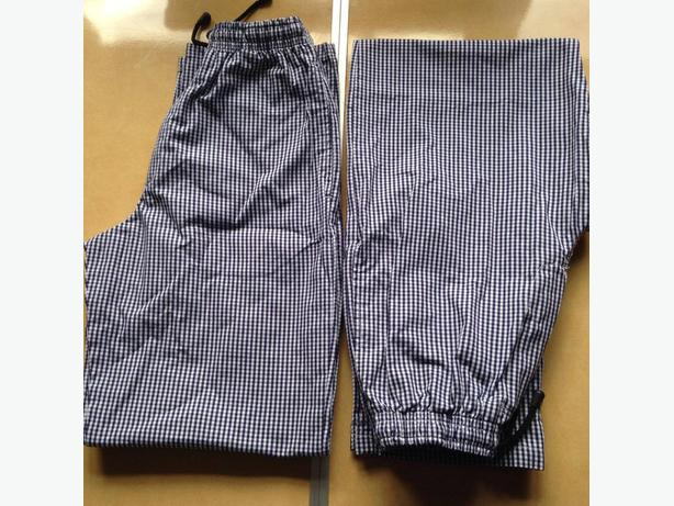 Russums chef trousers x2 XS blue and white