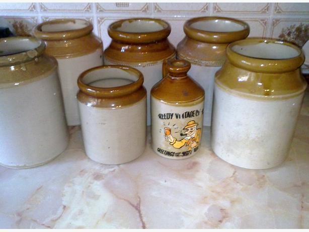 6 stoneware jars 1 stone cider jug