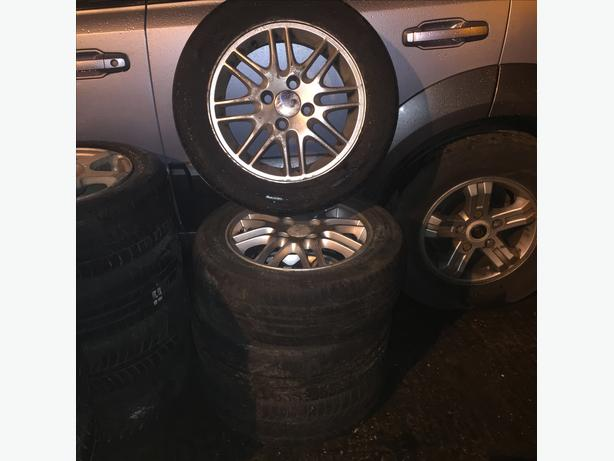 ALLOY WHEELS X 4 FORD 4 STUD WITH TYRES COMPLETE SET