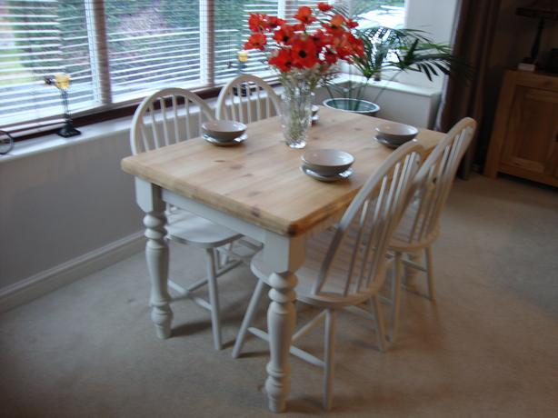 shabby chic farmhouse solid pine table and 4 chairs