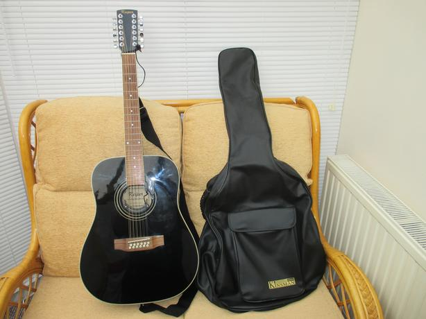 Keiper 12 String Electro Acoustic Guitar with case, strap & lead