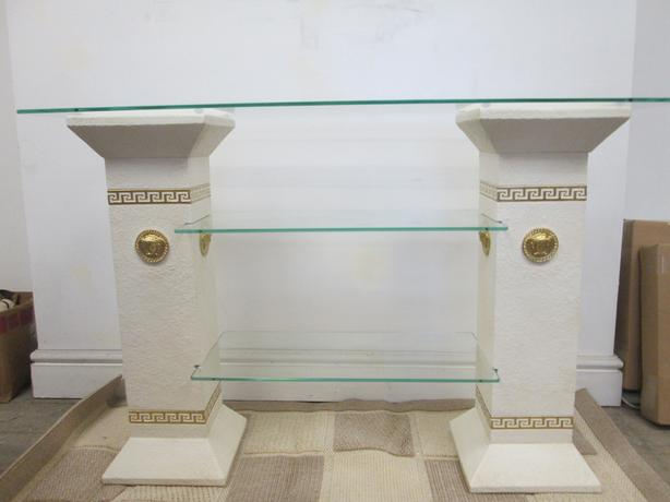 versace logo hall table/tv unit in off white with gold logos