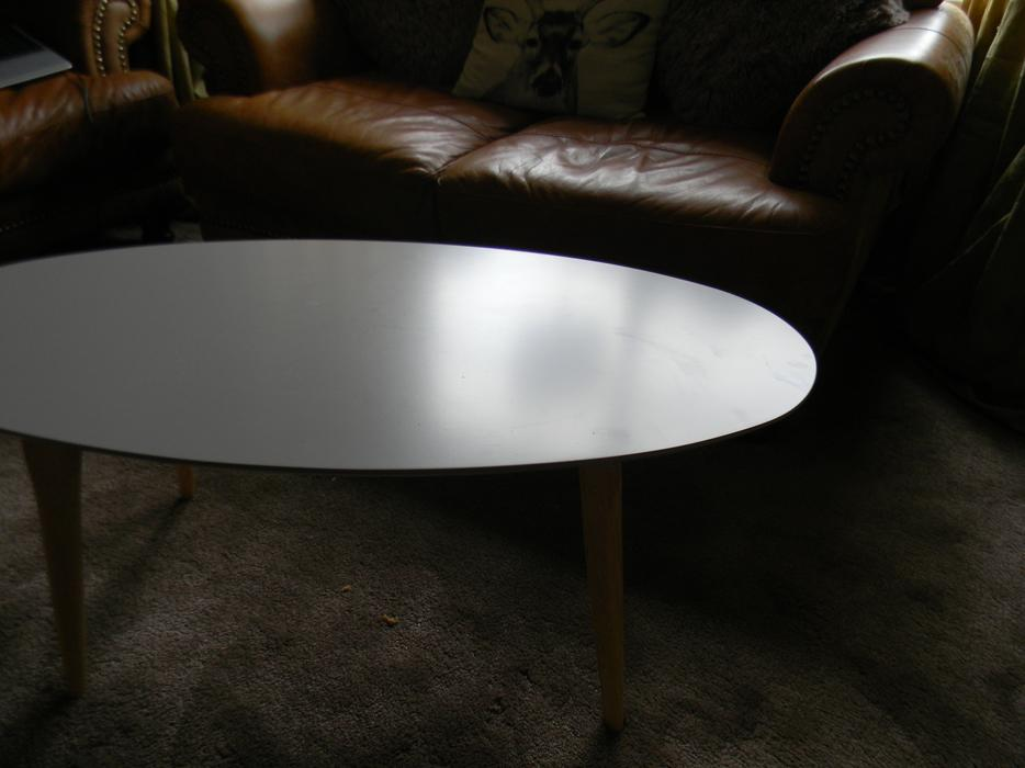 20 Tesco Miami Retro Style Coffee Table Taupe In Excellent Condition