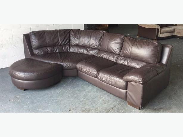Dfs 163 2000 Thick Brown Leather Corner Sofa With Half Moon