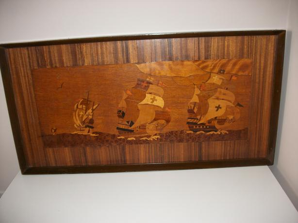 Unusual Parquay Wood Sailing Ship Picture