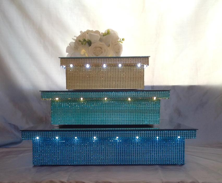 used wedding cake stand aqua mint green wedding cake stand 16 quot square led light up 21509