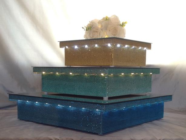 tall gold wedding cake stand gold wedding cake stand 12 quot square 3 quot led light up 20738