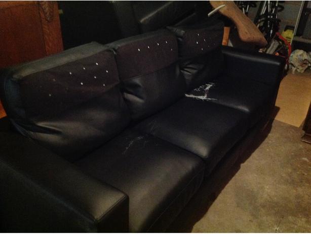 Black faux leather suite