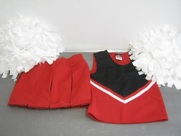 Alleson CheerLeading Outfit Red Black And White Top/Skirt/PomPoms Size Medium