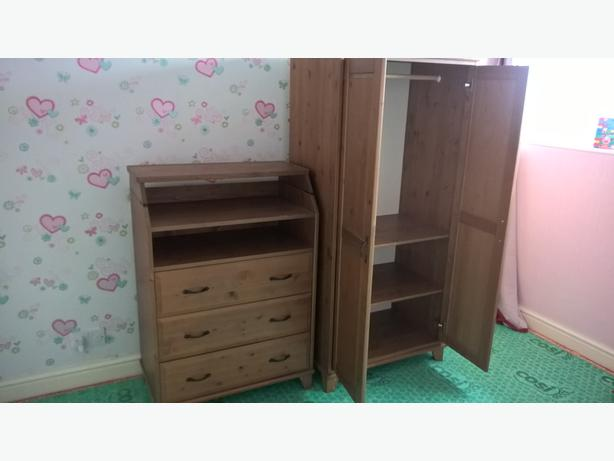 wardrobe and matching draws with fold out changing table