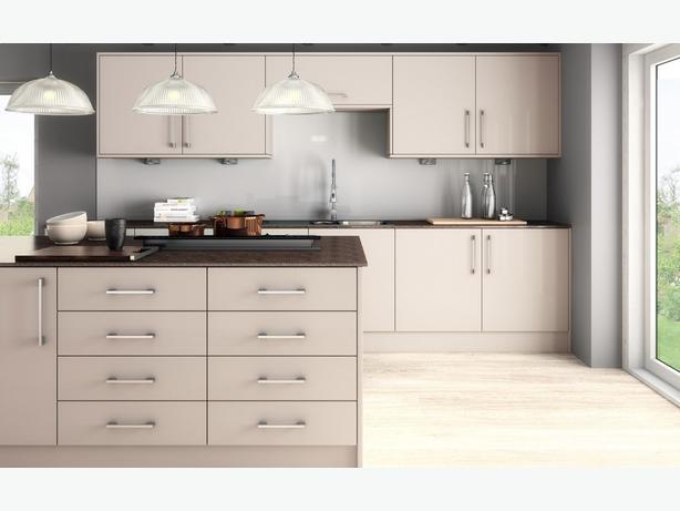 7 Piece Kitchen Units - Warm Mushroom Grey Glass Effect - BRAND NEW