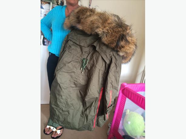 Women's Raccoon Parka Coat.