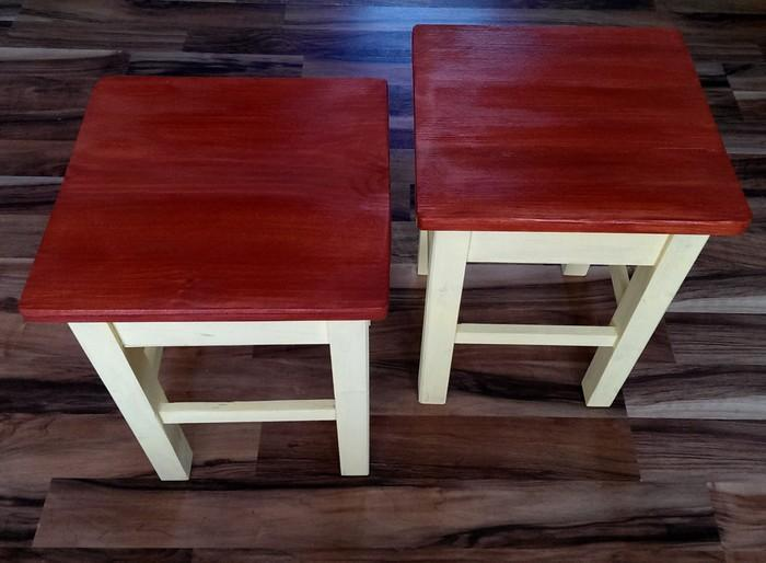 Set of 2 x Solid Wood Side Tables/Secret Storage /Stools ...