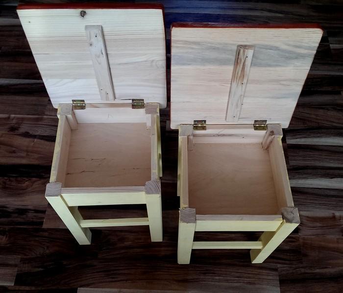 Set of 2 x solid wood side tables secret storage stools for Hidden storage side table