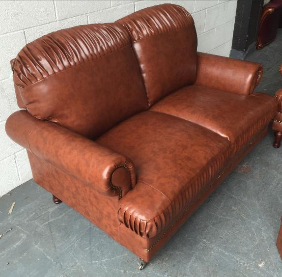 ex display chesterfield style leather look sofa set we. Black Bedroom Furniture Sets. Home Design Ideas