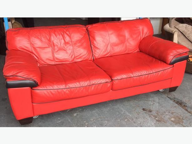DFS Red Black Leather 3 Seat Sofa WE DELIVER UK WIDE