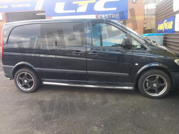 Mercedes Vito XL LWB Slashed End Side Bars with four steps 2004 +