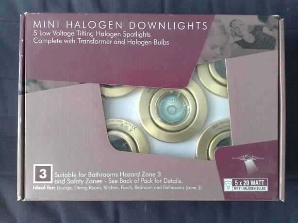 5 MINI HALOGEN DOWNLIGHTS - BRAND NEW IN BOX
