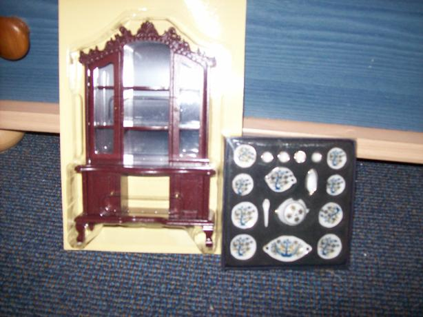 dolls house dresser and set of china