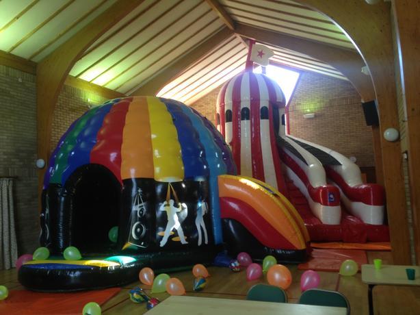 Adult Disco Dome Bouncy Castle & Helter Skelter Slide