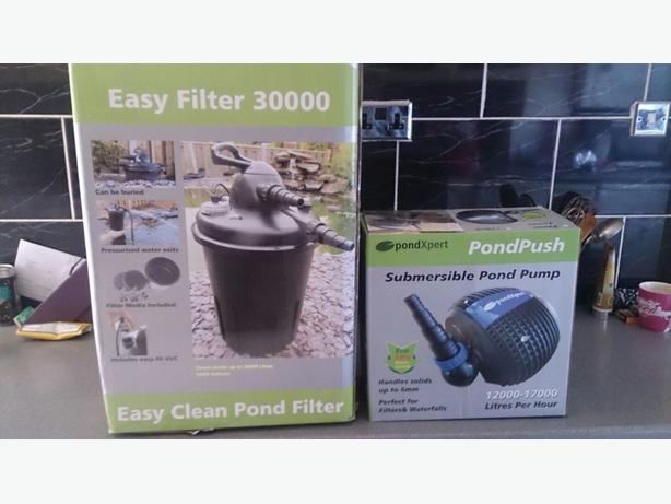 Bio pressure filter plus matching eco pump tipton for Easy clean pond filter