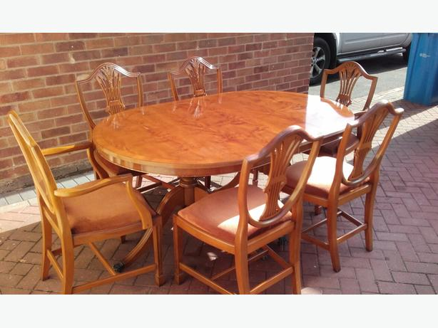 yew dining room furniture | Yew Wood Dining Table & Chairs WALSALL, Walsall