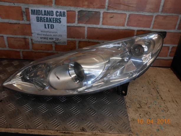 PEUGEOT 407 2005 NS PASSENGER SIDE  HEADLIGHT HEADLAMP 9660236280