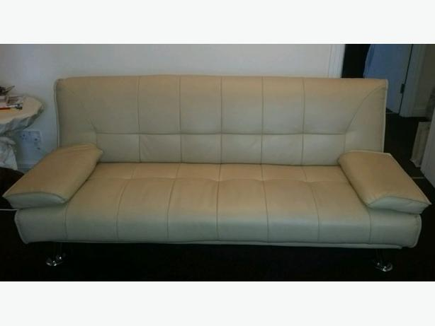Cream leather sofa bed good condition free delivery for Sofa bed free delivery