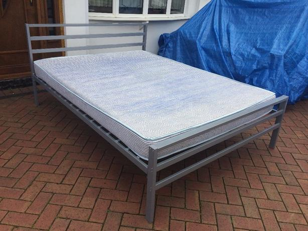 Double bed with mattress - metal solid frame // free delivery to 10 miles