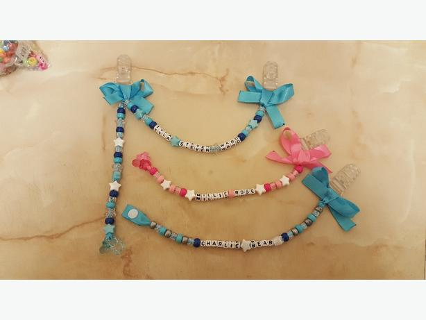 hand made pram charms and dummy clips
