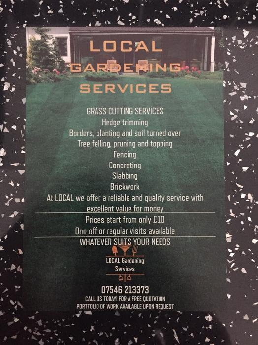 For trade local garden services bloxwich dudley for Local gardening services